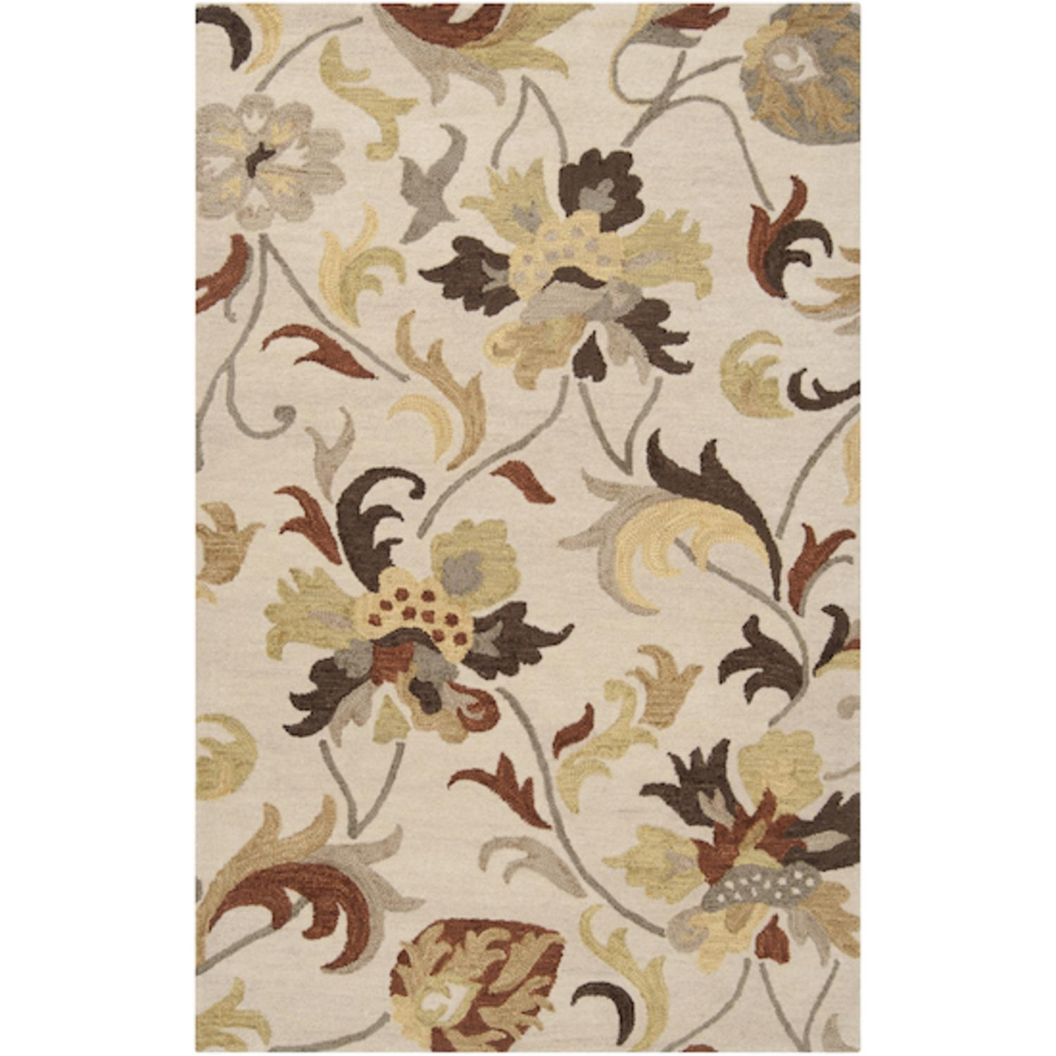 2' x 3' Lush Shoots Putty Beige and Pale Gold Wool Area Throw Rug