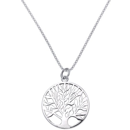 Sterling Silver Celtic Tree of Life Pendant on 18 Inch Box Chain Necklace