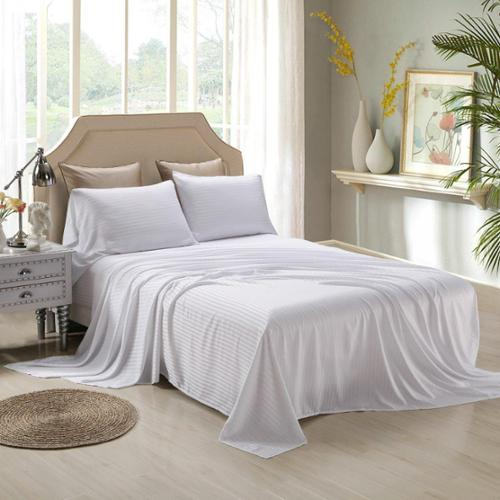 Honeymoon Satin Dobby Striped 4 Piece Bed Sheet Set Sage, Queen