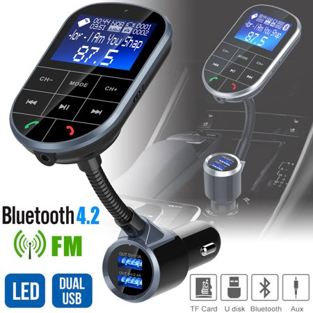 Bluetooth V4.2 FM Transmitter for Car, Wireless Bluetooth FM Radio Adapter 2 Ports USB Car Charger with Hands-Free