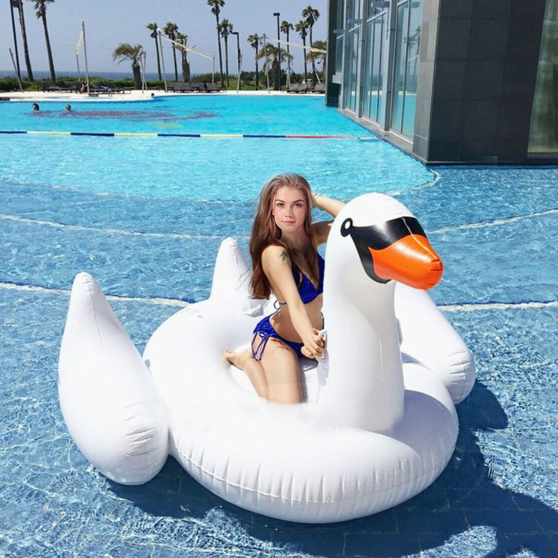 Costway Inflatable Leisure Giant Swan Float Toy Rideable Raft Swimming Pool Celebrity