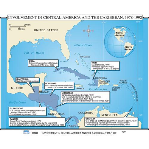 Universal Map U.S. History Wall Maps - U.S. Intervention in Latin America & Caribbean