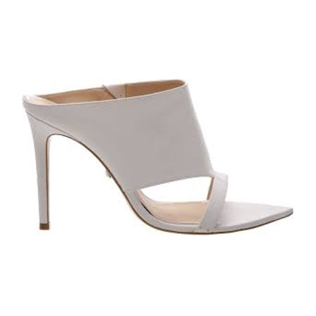 Schutz Jasmine in Pearl High Sandal Mules High Heel White Leather Open Toe Mule