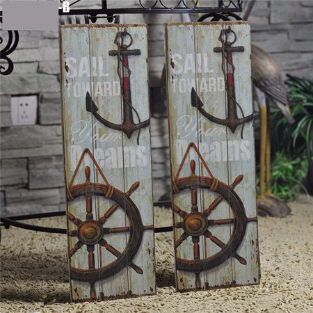 Rustic Wood Plaque (LDPT Nautical Decor Rustic Wood Sign Plaque Wall Art Picture Anchor)
