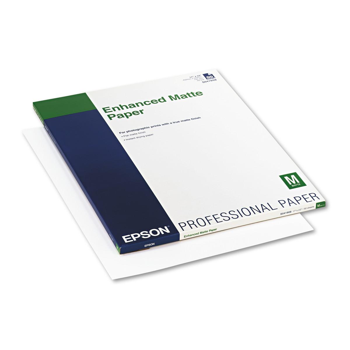 Epson Ultra Premium Matte Presentation Paper, 17 x 22, White, 50/Pack -EPSS041908