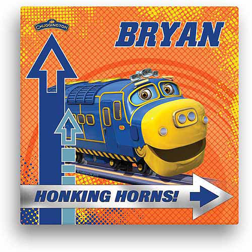 """Personalized Chuggington Honking Horns Brewster 12"""" x 12"""" Canvas Wall Art"""