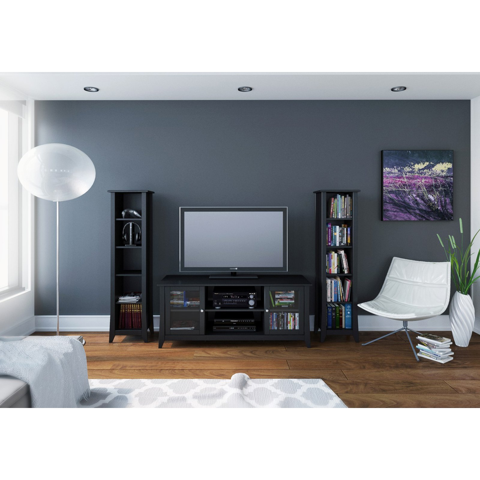 Megalak Finition Tuxedo 58 in. TV Console with 60 in. Slim Bookcases - Black