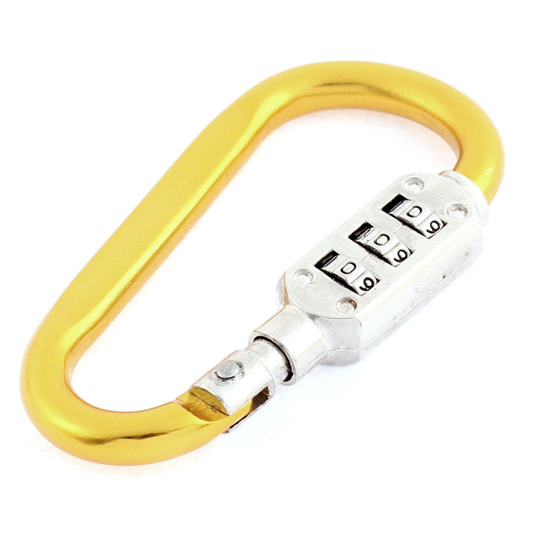 Aluminum Locking Carabiners 3 Digits Combination Lock Carabiner Hook,Random Color Pack of 6