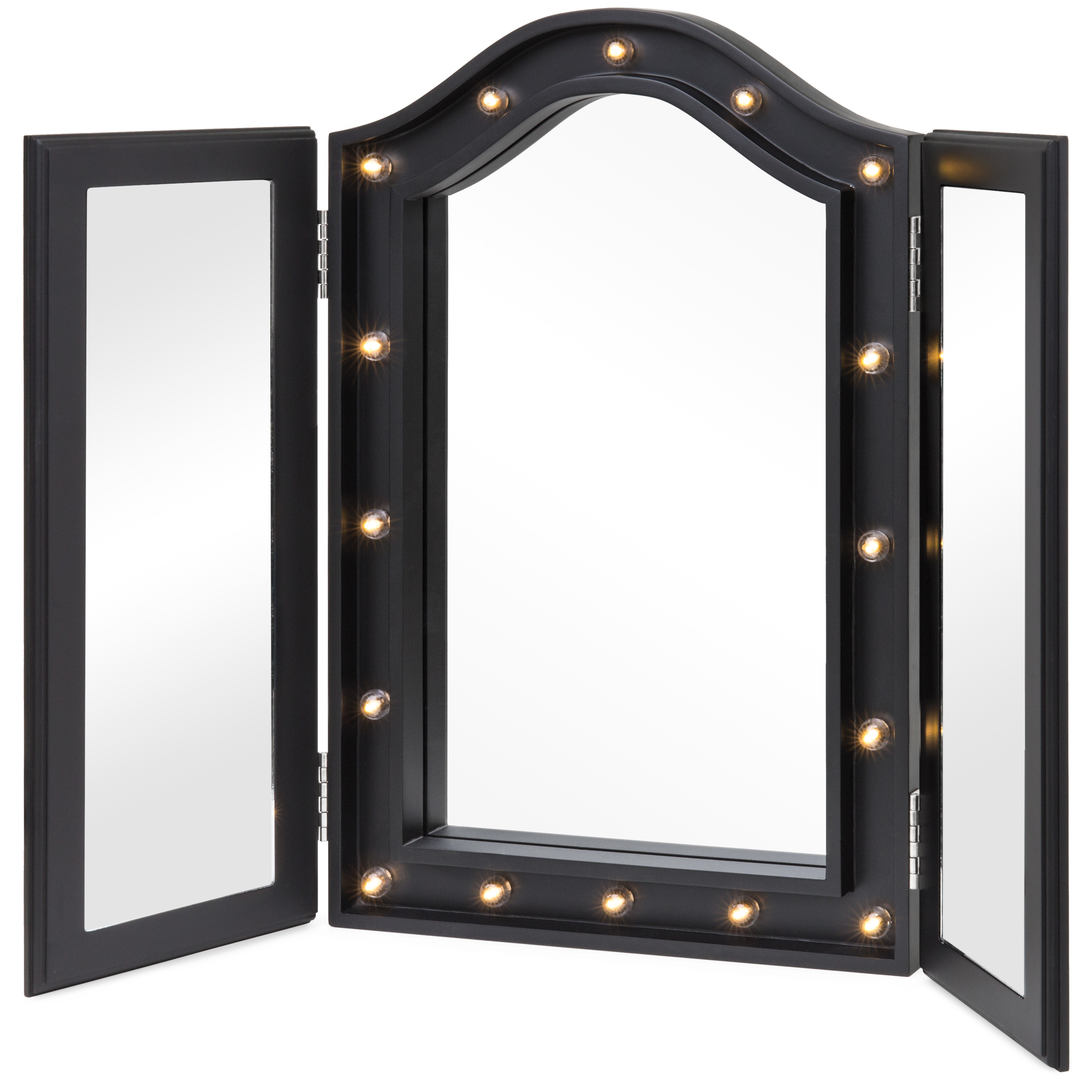 Best Choice Products Lit Tabletop Tri-Fold Vanity Mirror w  LED Lights (Black) by Best Choice Products