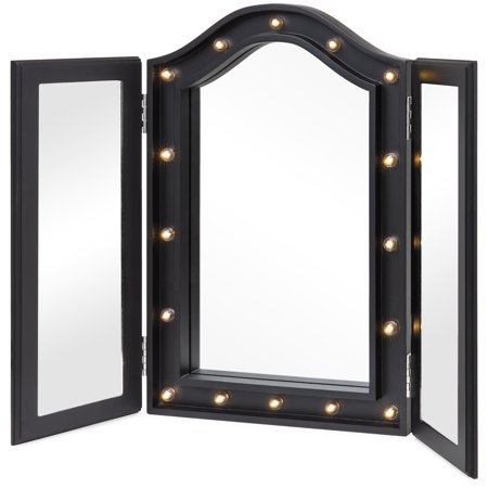 Best Choice Products Lighted Tabletop Tri-Fold Vanity Mirror w/ LED Lights - Black Black Chrome Flame Mirrors