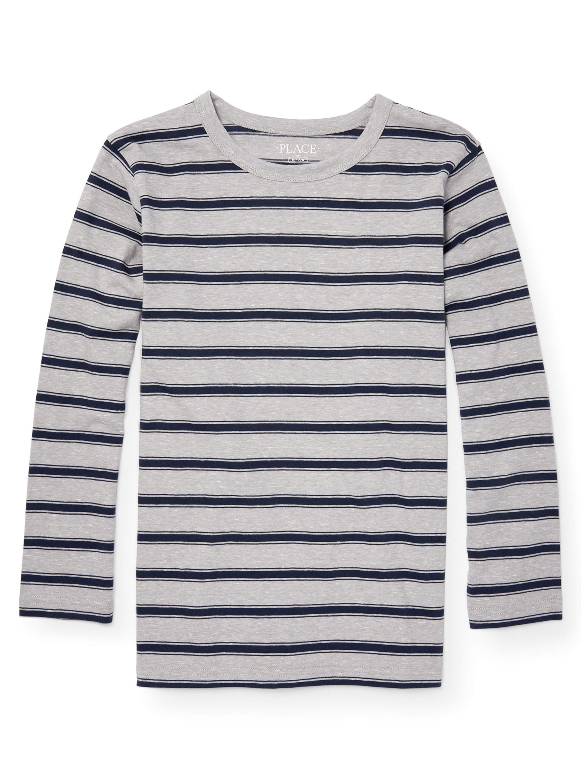 Long Sleeve Snow Stripe Tee Shirt (Little Boys & Big Boys)