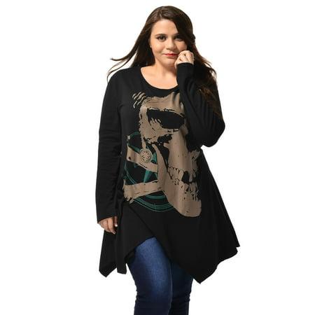 Ladies Long Sleeve Asymmetric Hem Skull Print Plus Size Blouse T-Shirt Black 2X - image 6 of 6
