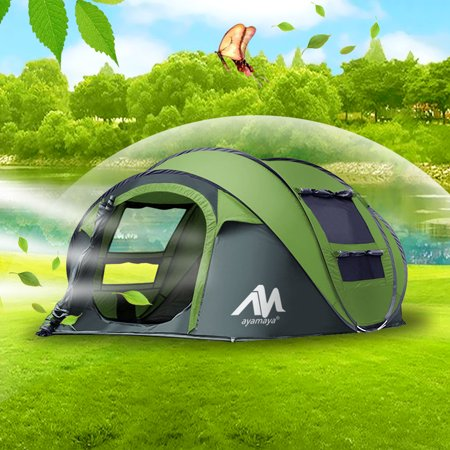 1b3639a56fe IClover Camping Tents 3/4 Person Easy Up Instant Setup Ventilated [2 Door]