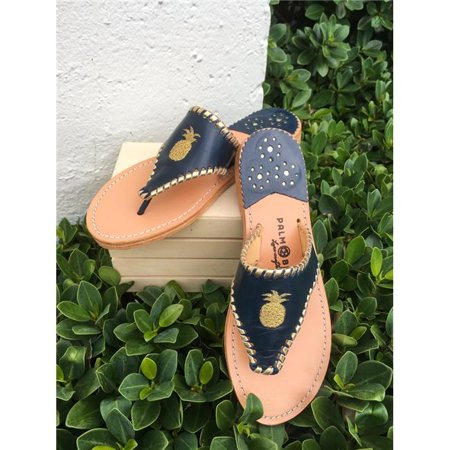 Palm Beach Sandals TROPPIN3-11 Hand Crafted Womens Leather Sandals, Navy & Gold - Size 11 - image 1 of 1