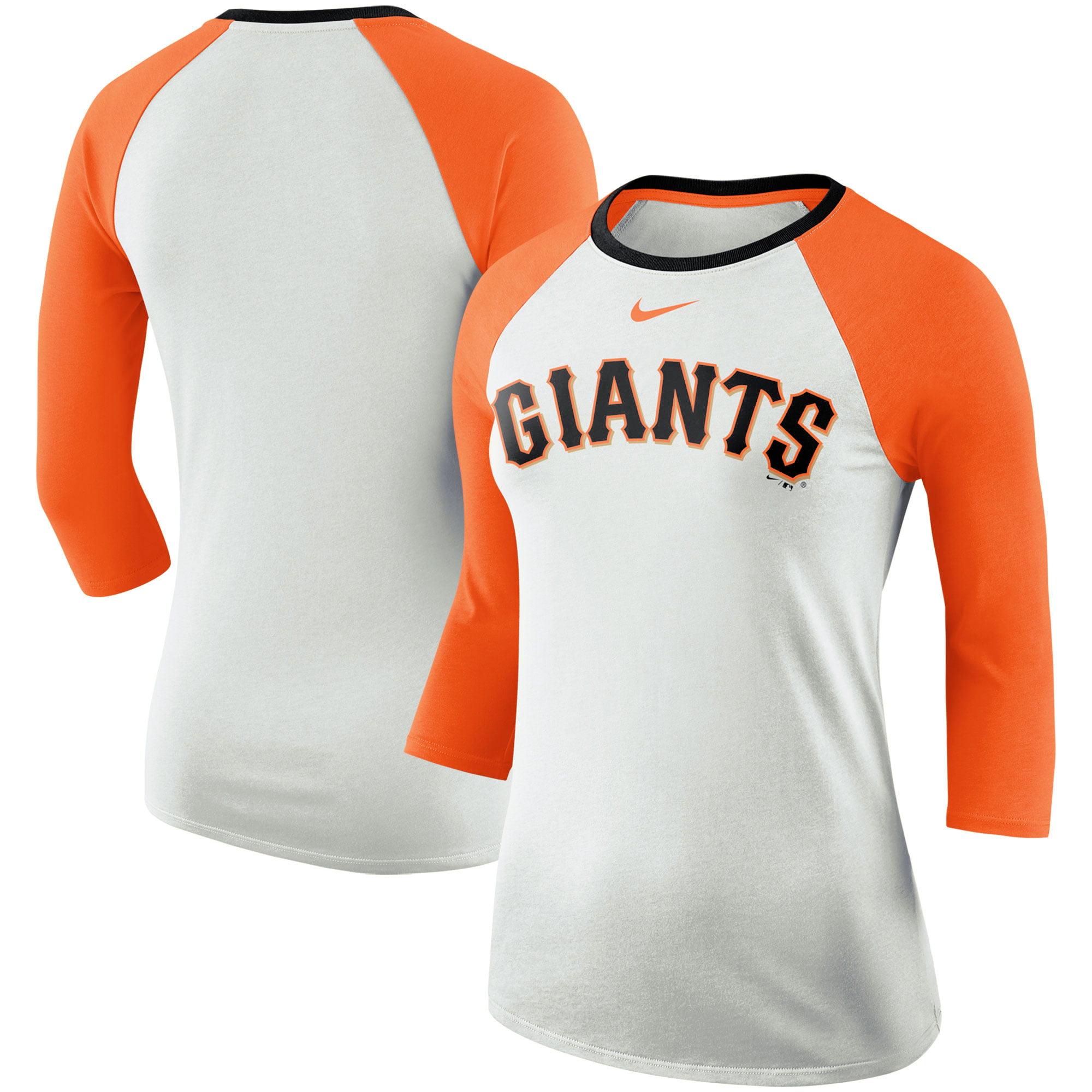 San Francisco Giants Nike Women's Tri-Blend Raglan 3/4-Sleeve T-Shirt - White/Orange