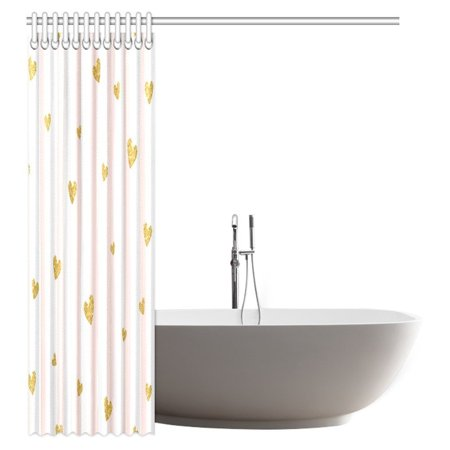 GCKG Pink White Striped Decorations Shower Curtain, Gold Glittering Heart Confetti Pattern Bathroom Decor Shower Curtain Set with Hooks, 60x72 Inches - image 1 de 2