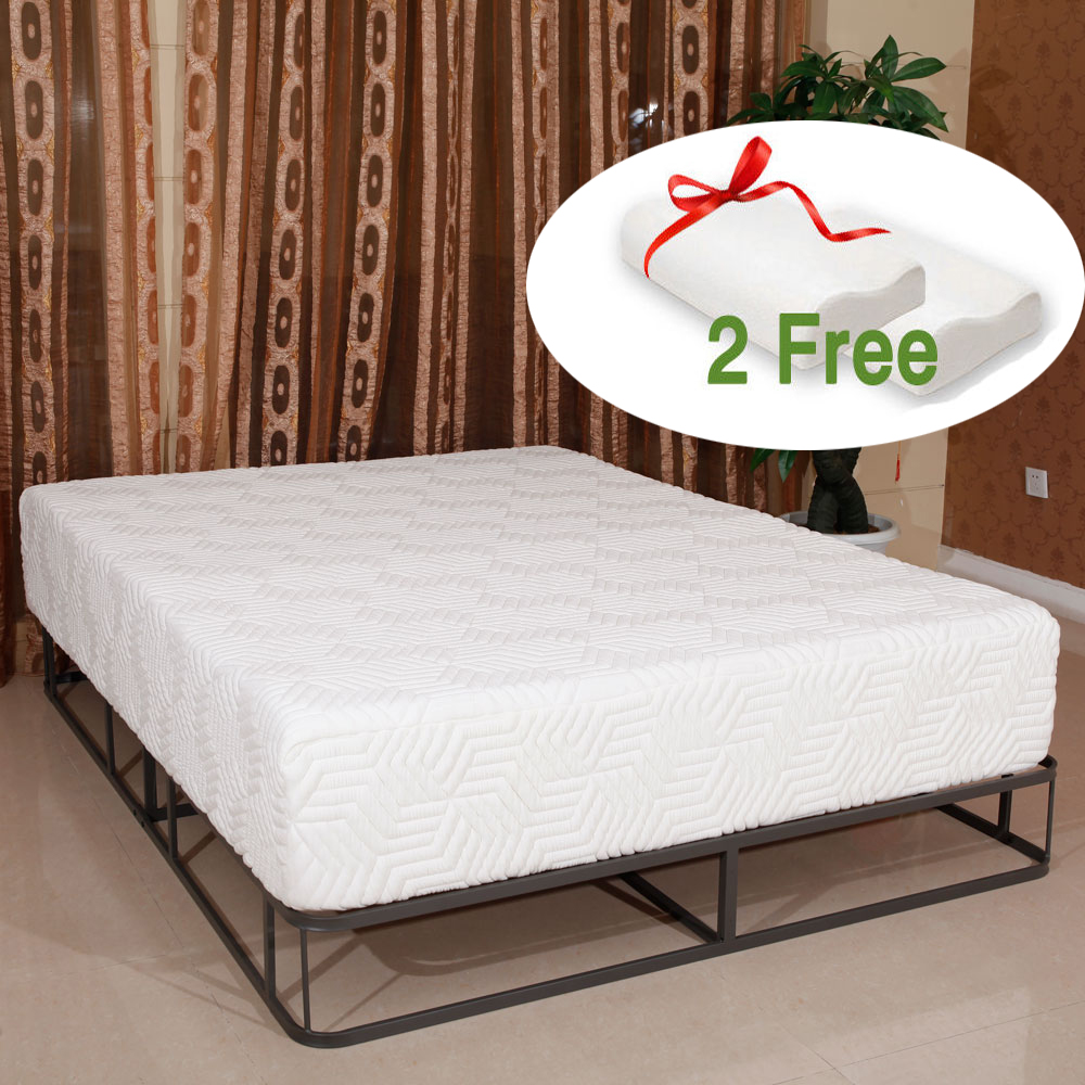"Ktaxon Three Layer 12"" Cool Medium-firm GEL Memory Foam Mattress Queen 2 Free Pillows"