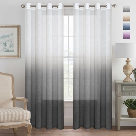Grey Curtains Natural Linen Mixed Semi Sheer Curtains 96 Inches Long Beautiful Ombre Sheer Window Elegant Curtains/Drapes/Panels/Treatment, 2 Panels (Ladies Semi Sheer)