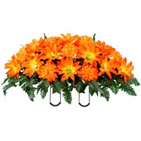 Sympathy Silks Artificial Cemetery Flowers - Realistic - Outdoor Grave Decorations - Non-Bleed Colors, and Easy Fit - Sunset Dahlia and Mums- Saddle - For Headstone