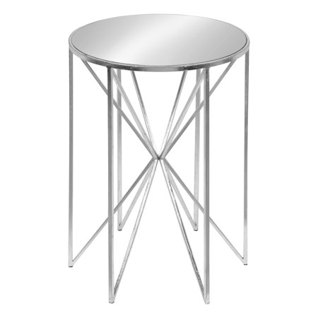 Kate and Laurel Triggs Round Mirrored Metal End Table, Silver