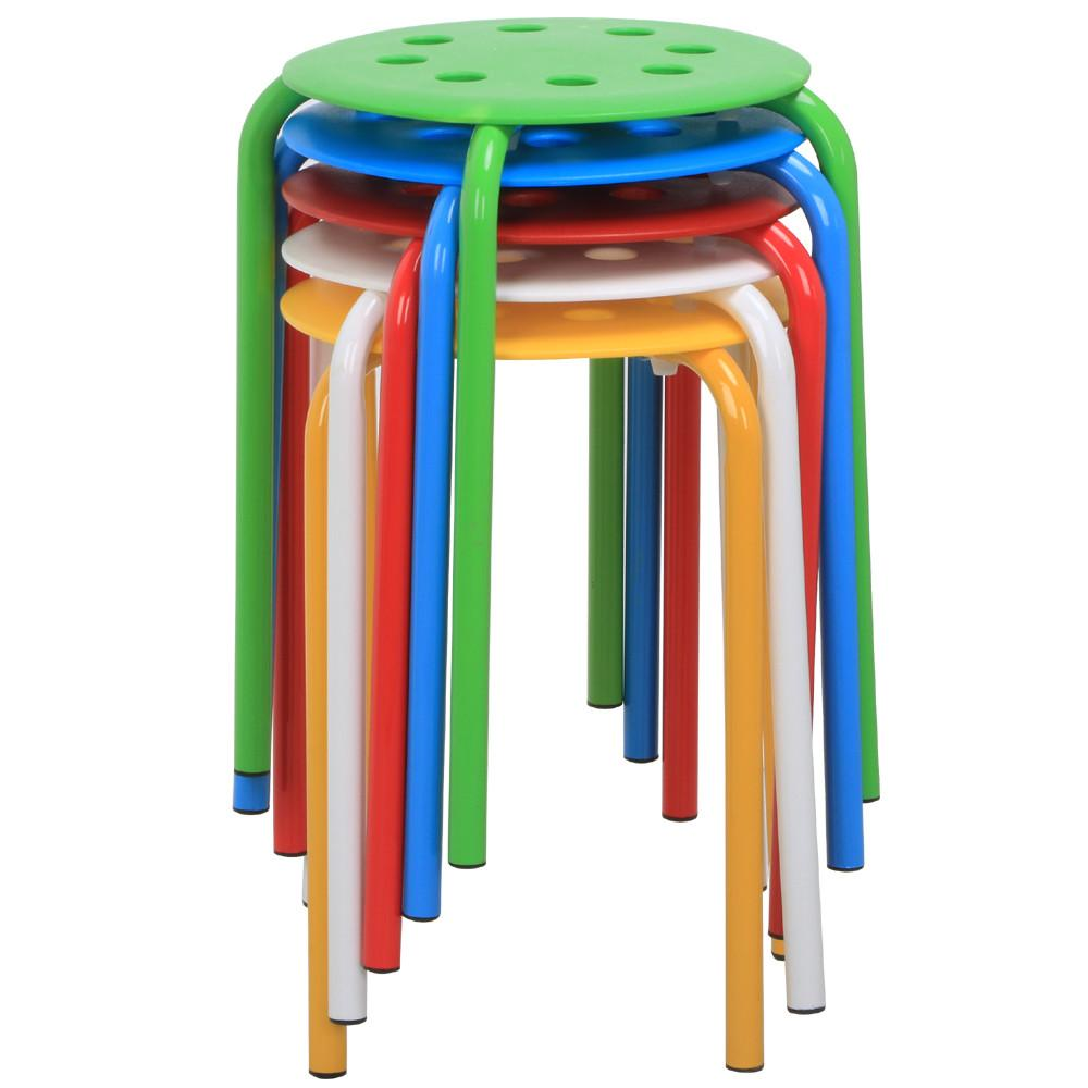 Yaheetech Set Of 5 Round Plastic Stacking Stools Blue