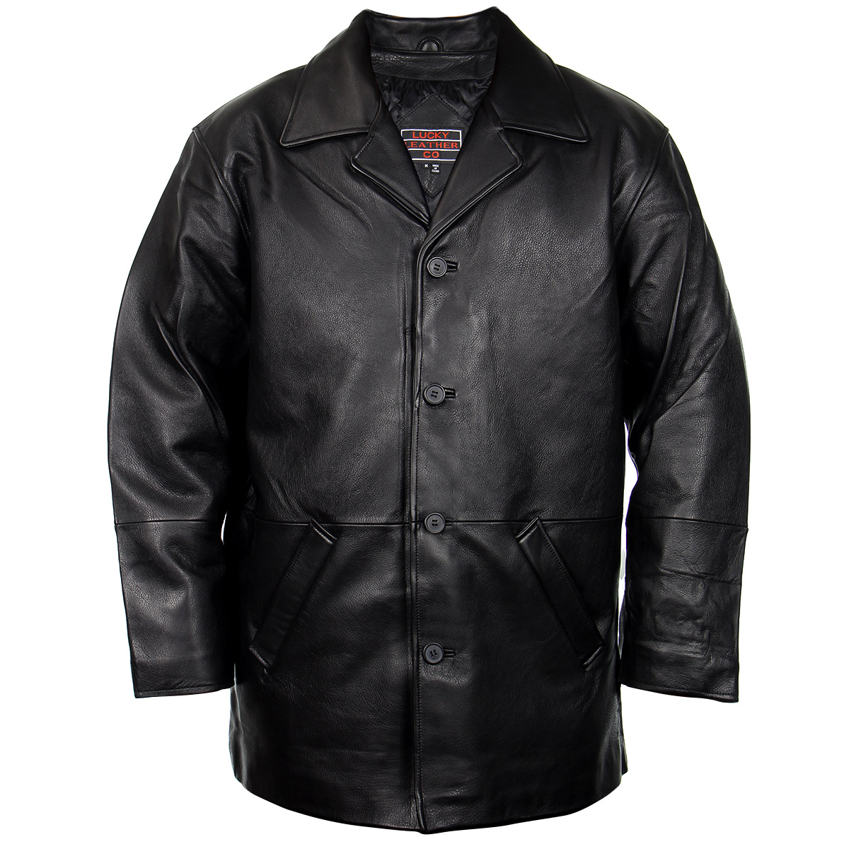 Lucky Leather 960C Mens Black Cowhide Leather Car Coat