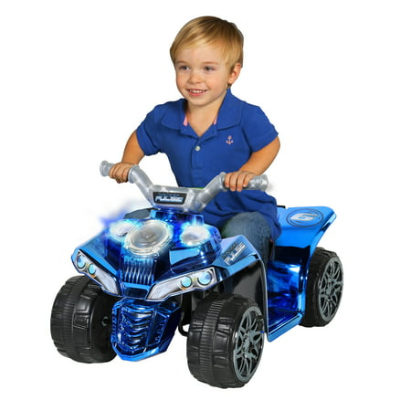 6 Volt Boys Pulse Quad Electric Ride-On Toy with Pulsating Speakers and Light-Up Handlebars