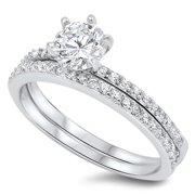 Round Solitaire Wedding Set White CZ Ring ( Sizes 4 5 6 7 8 9 10 11 ) .925 Sterling Silver Band Rings (Size 7)