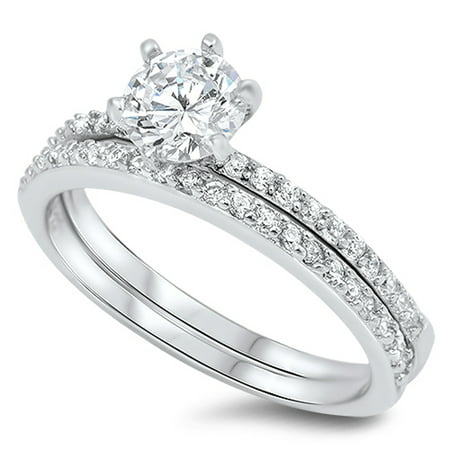 Round Solitaire Wedding Set White CZ Ring ( Sizes 4 5 6 7 8 9 10 11 ) .925 Sterling Silver Band Rings (Size 7) 4 Round Czs Ring