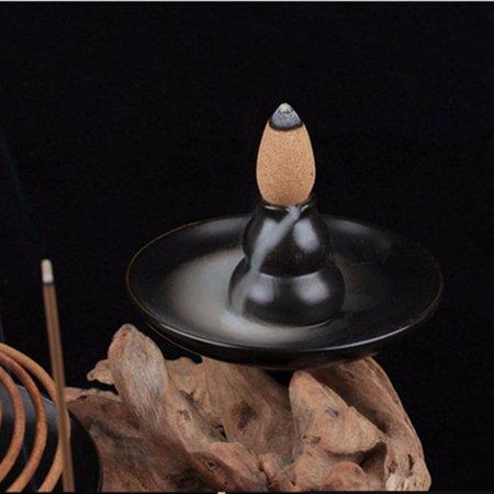 Grtsunsea Zen Buddhist Incense Burner,Church Incense Burner Accessories (Black Glazed Ceramic Gourd Zen Buddhism Ceramic Incense Holder)