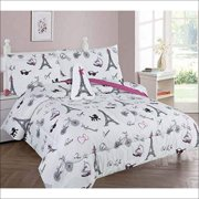 Golden Linens Twin Size 6 Pieces Printed Comforter with sheet set Bed in Bag Multi colors White Black Pink Paris Eiffel Tower Design Girls / Kids/ Teens # Twin 6 Pc Paris