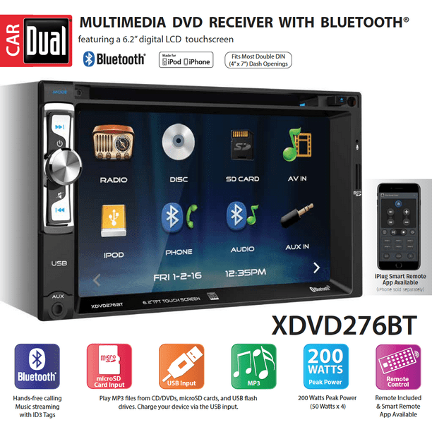 Dual Electronics XDVD276BT 6.2 inch LED Backlit LCD Multimedia Touch Screen  Double Din Car Stereo with Built-In Bluetooth, iPlug, CD/DVD Player &  USB/microSD Ports - Walmart.com - Walmart.comWalmart.com