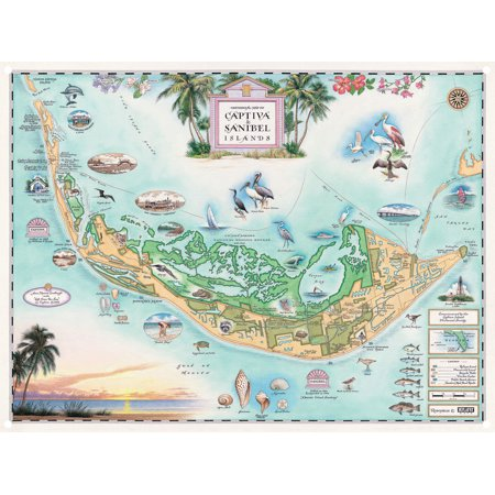 Captiva Sanibel Islands, Florida Hand-Drawn, Antique-Style Map Metal Print (9