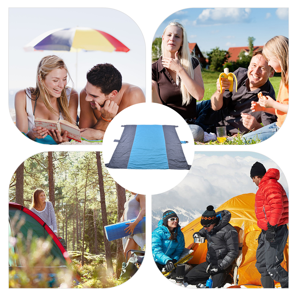 Yosoo outdoor beach blanket,Sand Free Mat Ejoyous 7 inch× 9 inch Huge Nylon Water Resistant Picnic Blanket with 4 Stakes an