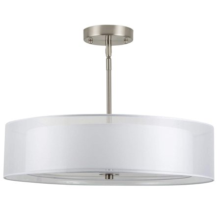 Grazia 20 Inch 3 Light Drum Chandelier Ceiling Brushed Nickel Linea Di Liara