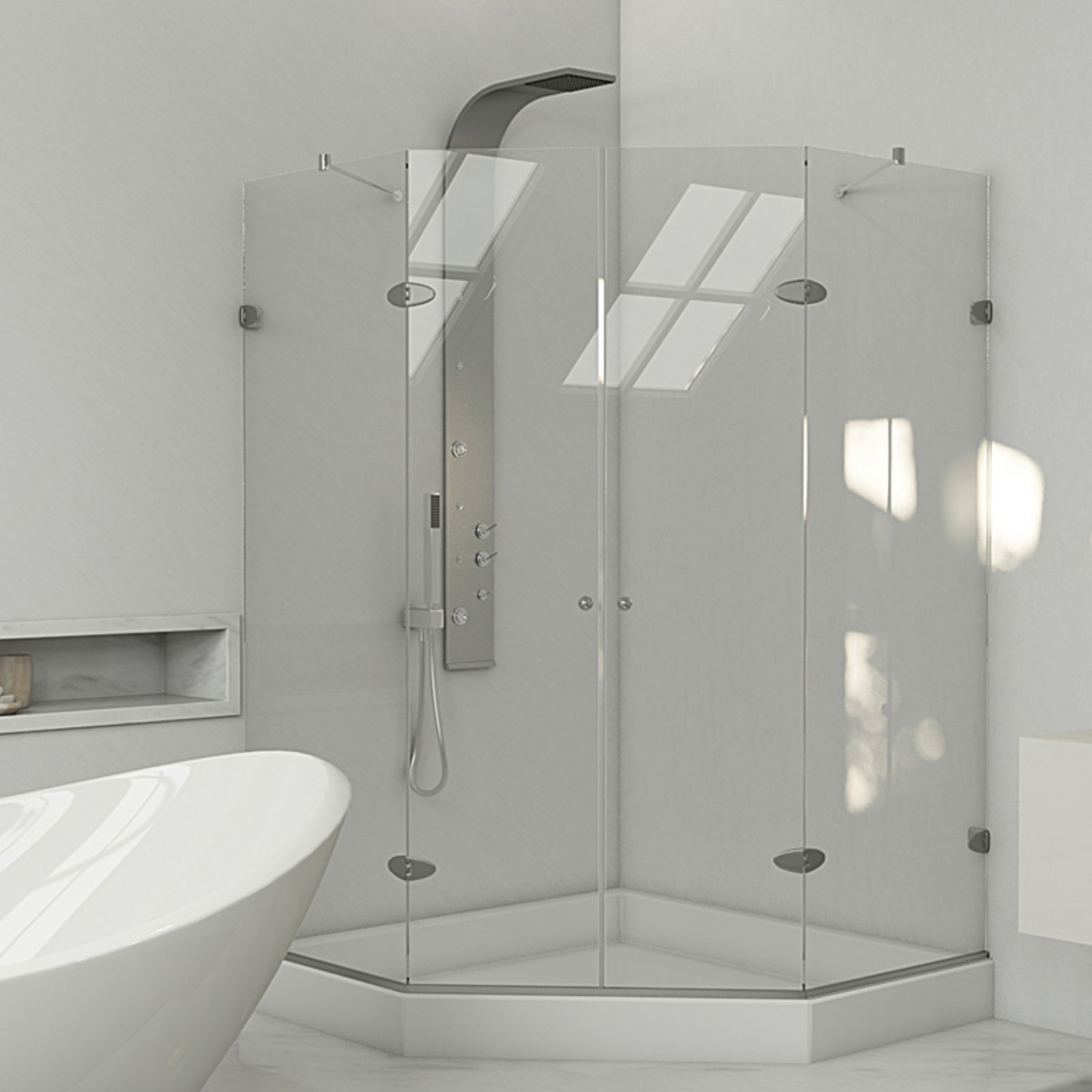 Vigo 47 5 8 X 47 5 8 Frameless Neo Angle 3 8 Clear Chrome Shower Enclosure With Base Walmart Com