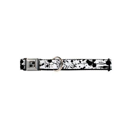 white and black scattered paint splatter fun animal seatbelt pet collar](Pet Paint)