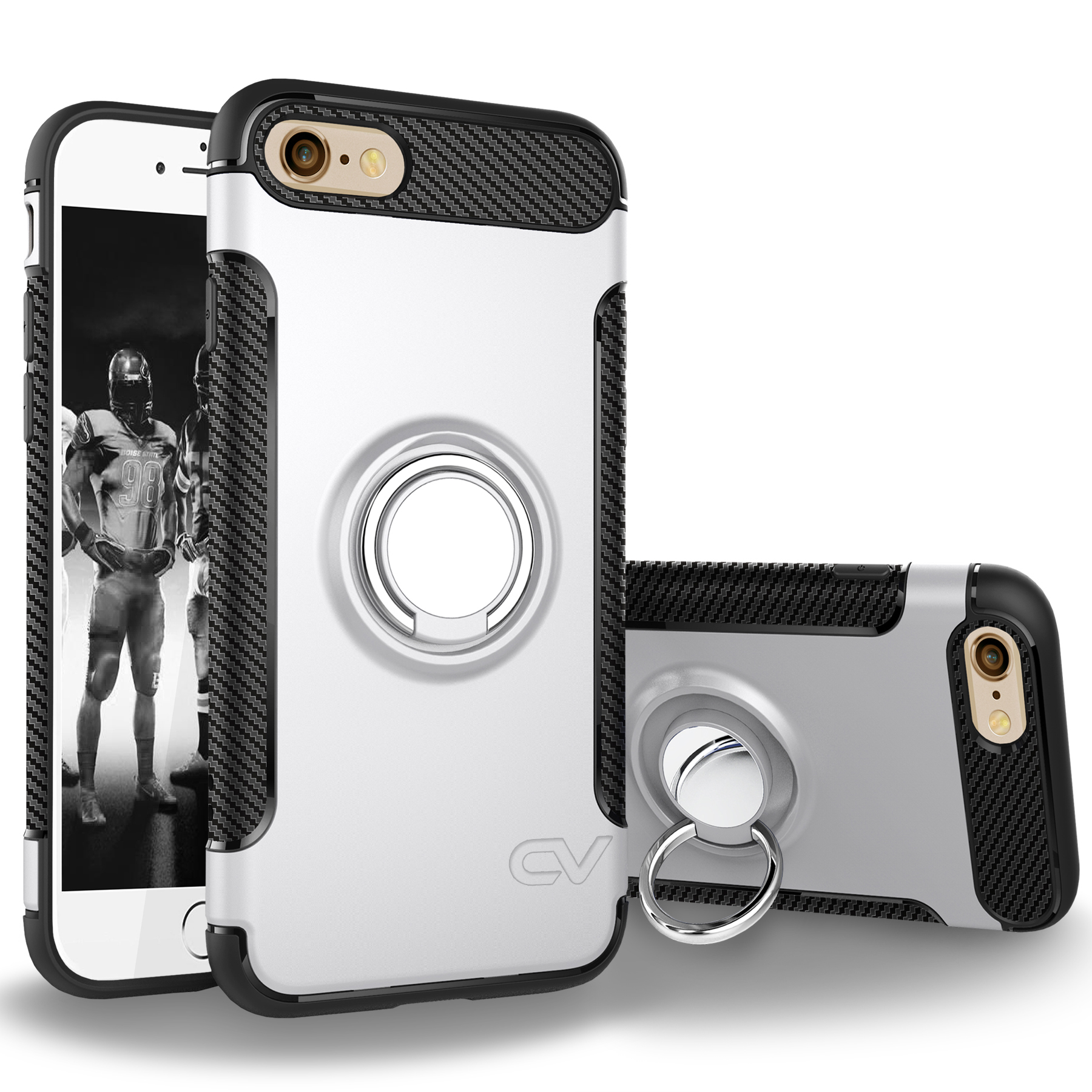 iPhone 6 Case, iPhone 6S Case, Cellularvilla Hybrid Dual Layer Protective Case [Shockproof] Built-in Rotating Metal Ring Holder Kickstand Cover for Apple iPhone 6 / 6S 4.7 Inch
