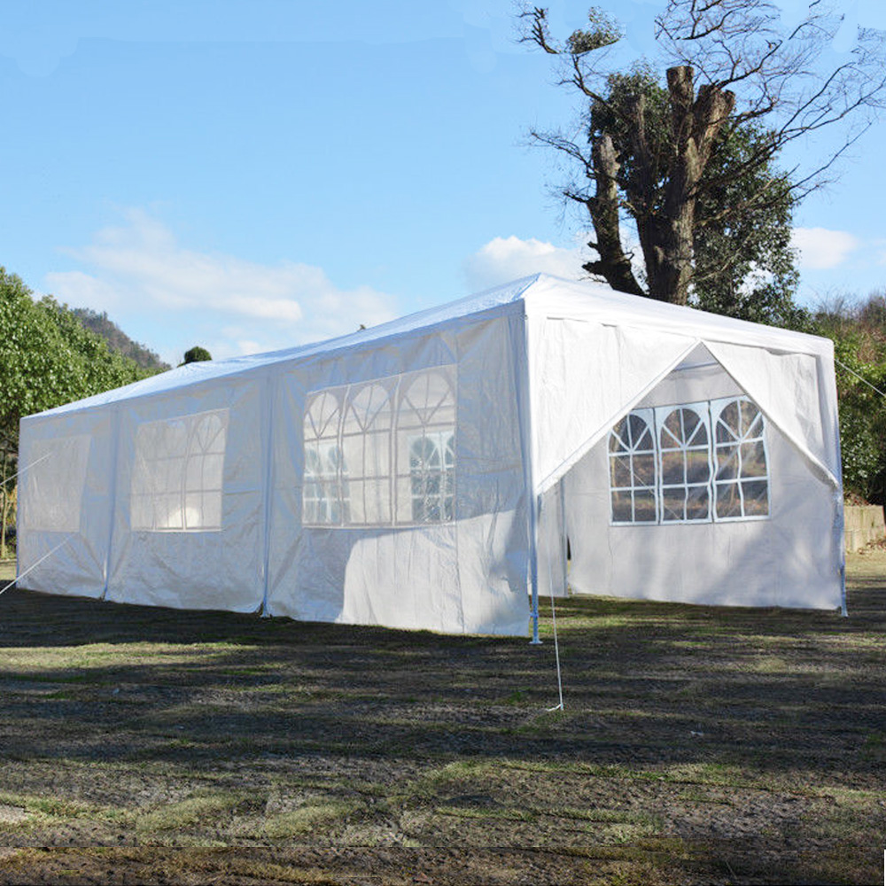 Zimtown 10'x30' Outdoor Party Wedding BBQ Tent w/8 Outdoor Canopy Tent White