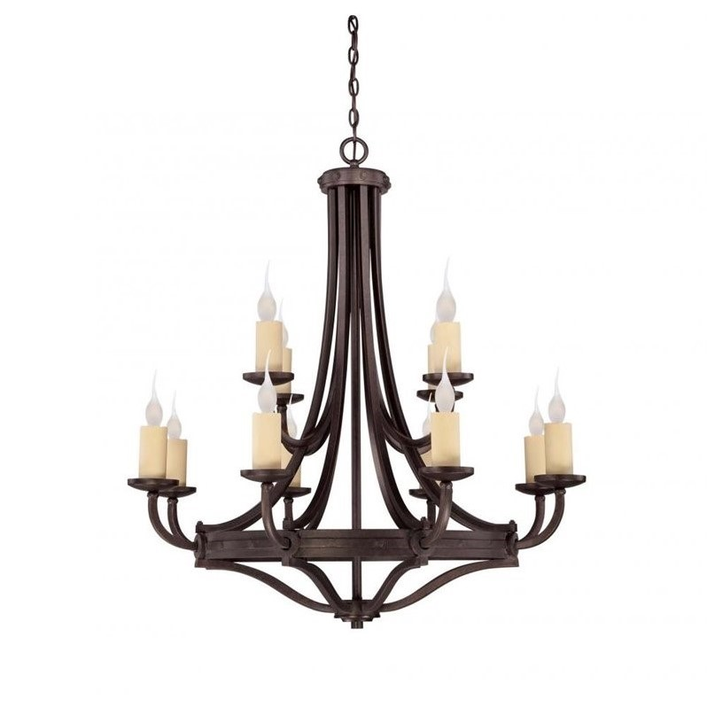 Savoy House Elba 12 Light Chandelier in Oiled Copper