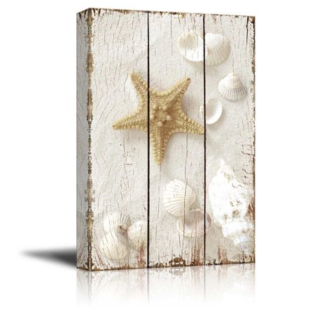 "wall26 - Star Fish and Sea Shells on The Sand - Canvas Art Wall Decor - 32""x48"""