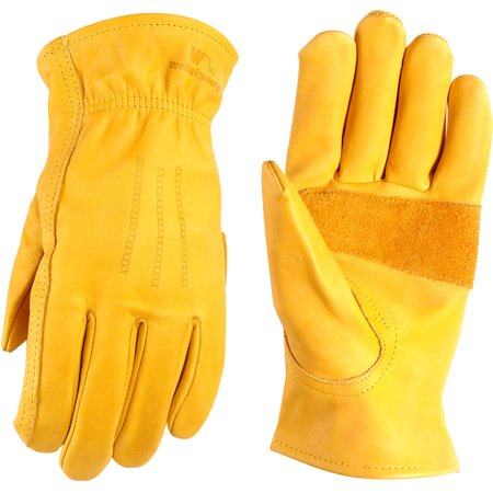 Medium Leather Glove - Heavy Duty Grain Cowhide Extra Wear Palm Leather Work Gloves, Saddletan