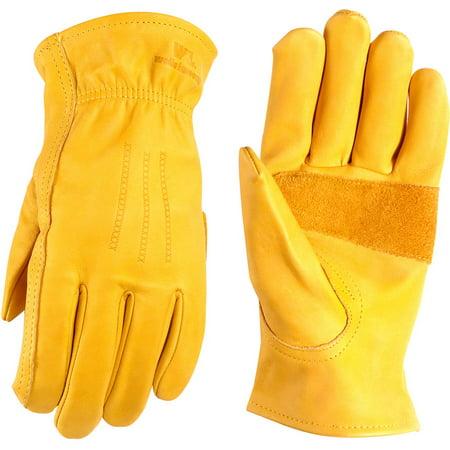 Wells Lamont Heavy Duty Grain Cowhide Extra Wear Palm Leather Work Gloves, Saddletan