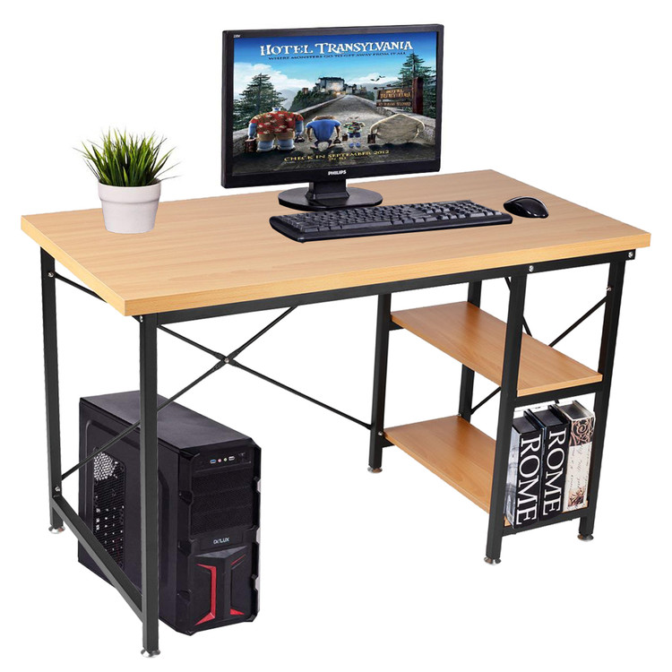 Merveilleux Computer Desk With Shelves 2 Tier Modern Style Workstation With Bookshelves  Writing Study Table For Home And Office