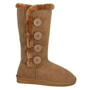 New Girl's Warm Tall Mid Calf 3 Buttons Faux Sheepskin Fur Kids Shoes Boots (8908-Tan-13 Little Kid)