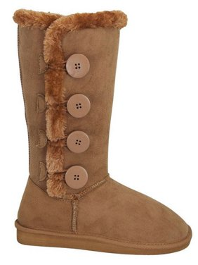 aa3e9914 Product Image New Girl's Warm Tall Mid Calf 3 Buttons Faux Sheepskin Fur  Kids Shoes Boots (8908