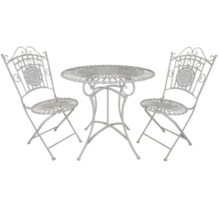 Titan 3 Piece Bistro Table & Chair Dining Set Outdoor Patio White Antique Style ()