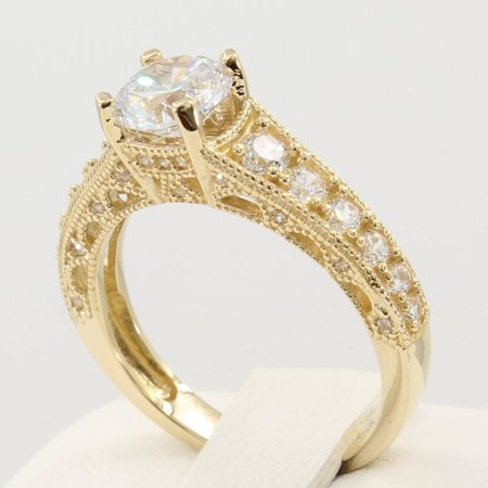 2.50 Ct 14K Real Yellow Gold Fancy Round Cut Center with Pave Set Side Stones Antique Vintage Style Engagement Wedding Bridal Propose Promise (Vintage 3 Stone Round Pave)