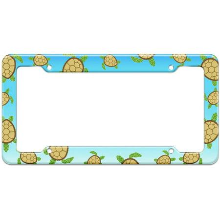 Sea Turtle Ocean Pattern License Plate Frame (Sea Animal License Plate Frame)