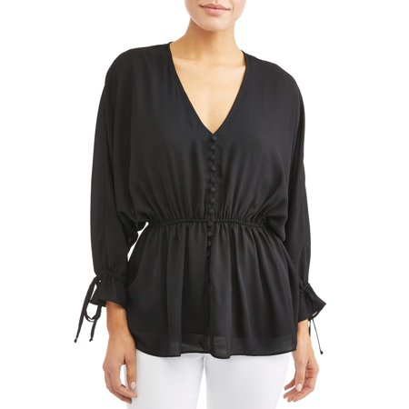 Cinch Waist Top - Denise V-Neck Button Front Cinched Blouse Women's